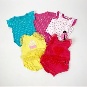 Lot of 5 Baby Girl 3-6 Month Onesie/One Piece